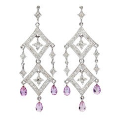 Salavetti Pink Sapphire & Diamond Dangle Earrings