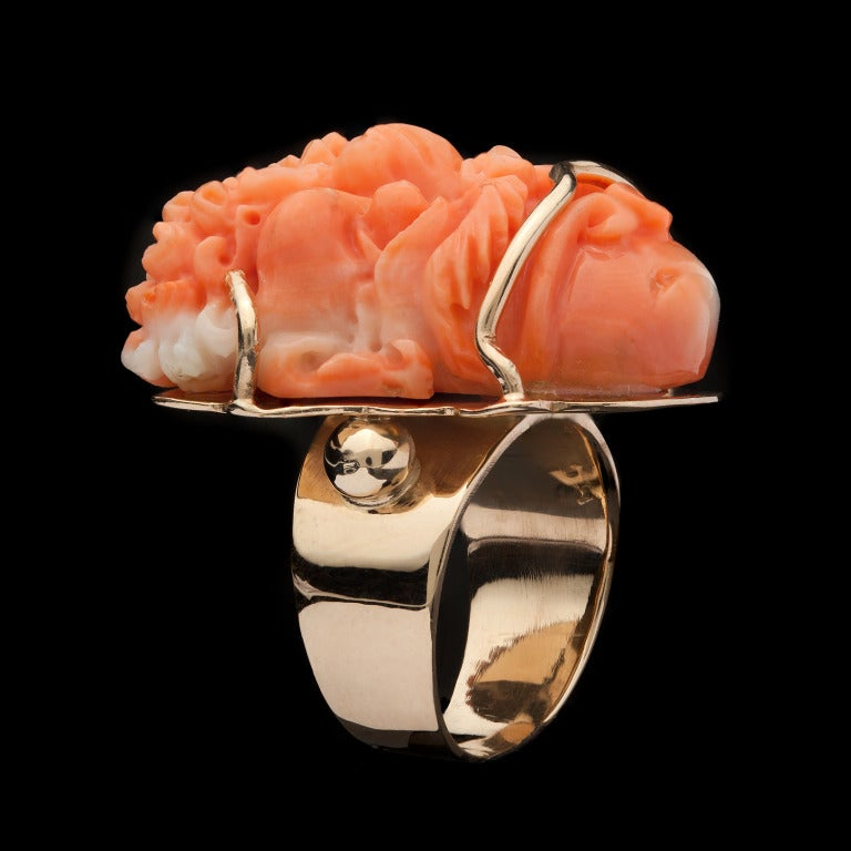 asian carved coral ring at 1stdibs