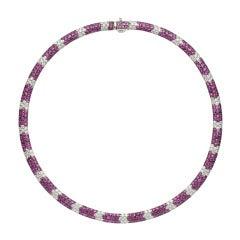 Salavetti Pink Sapphire & Diamond Necklace