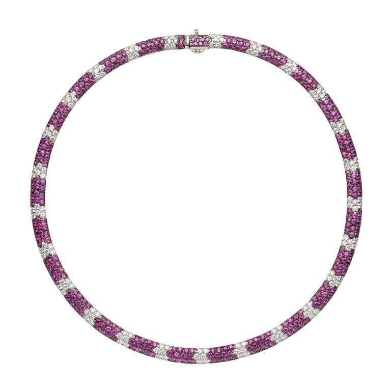 Salavetti Pink Sapphire & Diamond Necklace For Sale