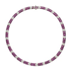 Salavetti Pink Sapphire and Diamond Necklace