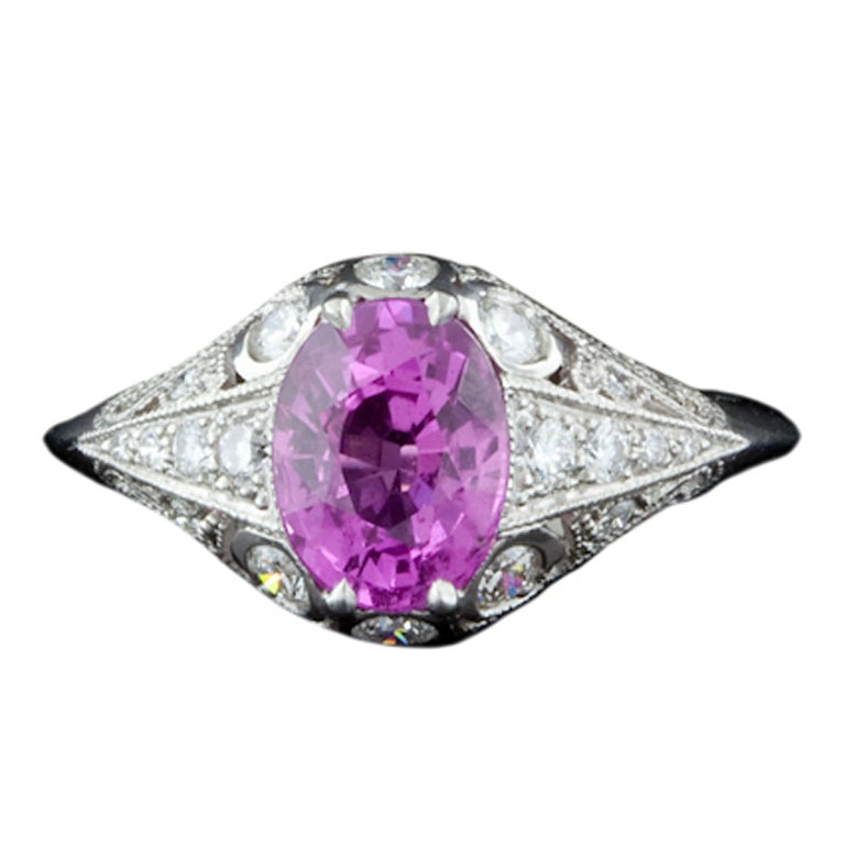 2 0ct pink sapphire and platinum ring at 1stdibs