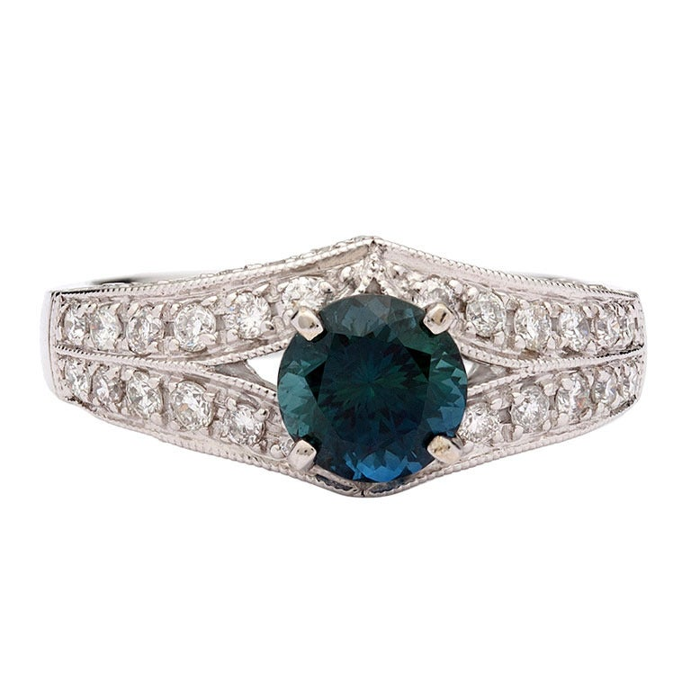 Teal Sapphire and Diamond Ring at 1stdibs