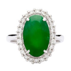 Natural Jade Diamond Ring