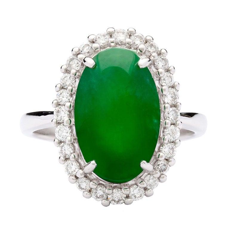 Natural Jade  Diamond Ring