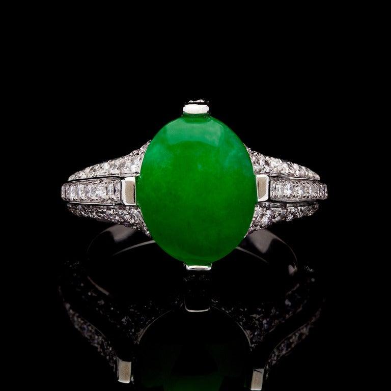 Cabochon Cut Jade Diamond White Gold Ring At 1stdibs