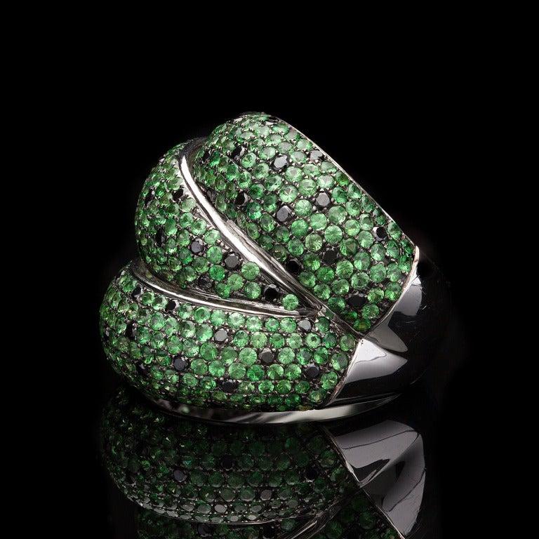 Salavetti Tourmaline Black Diamond Ring 3