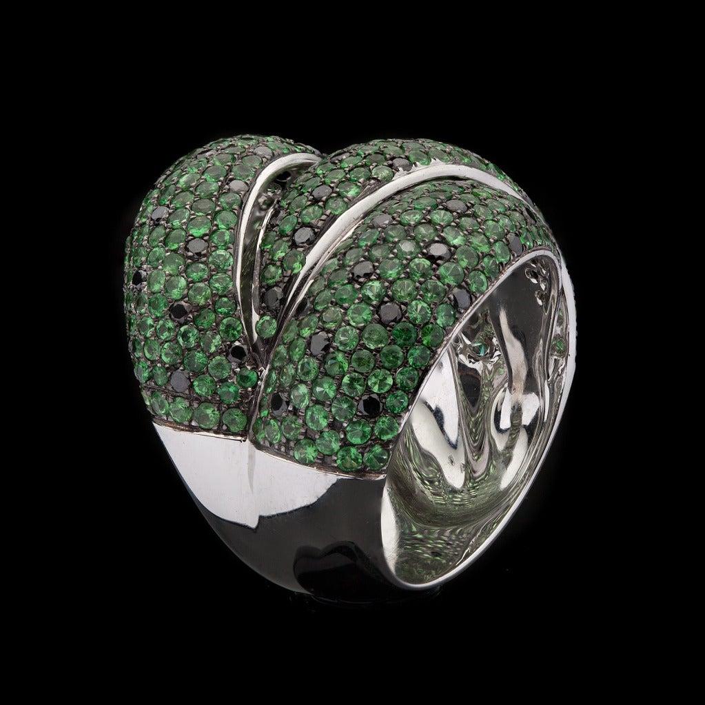 Salavetti Tourmaline Black Diamond Ring 4