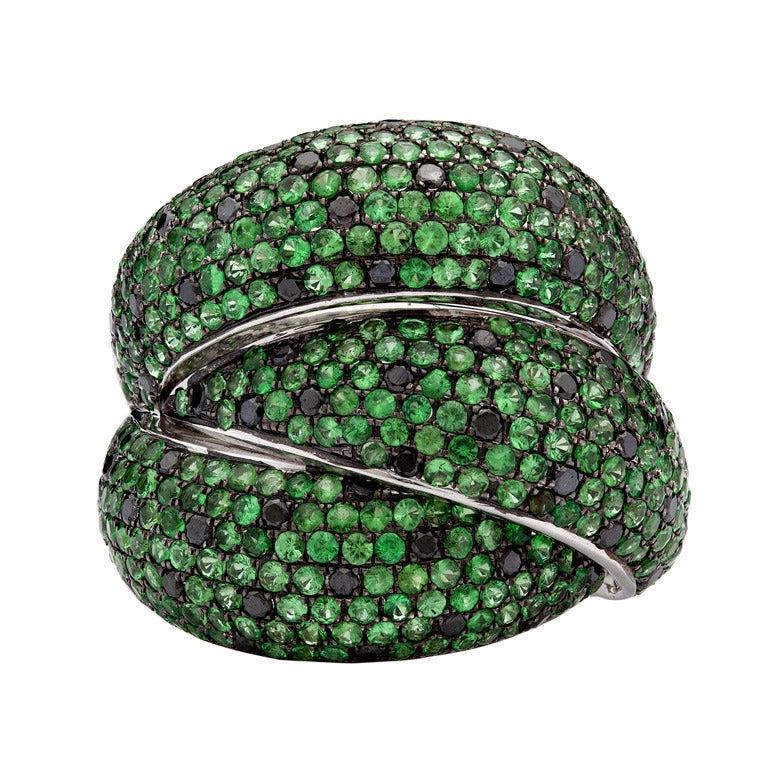 Salavetti Tourmaline Black Diamond Ring 1