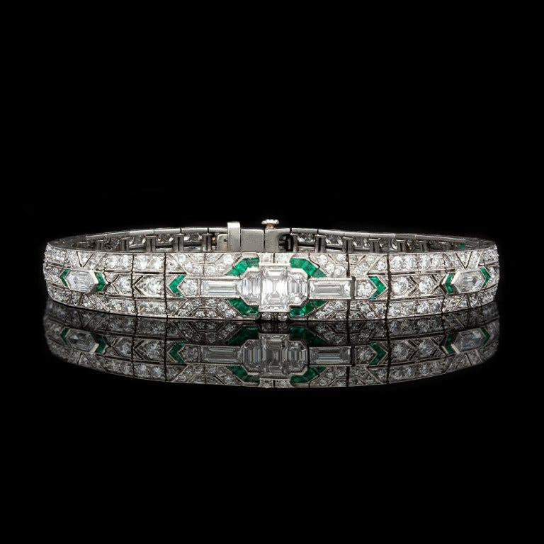 Deco Diamond & Emerald Bracelet features 225 Mixed Cut Diamonds for approximately 7.04cts & 38 Emeralds set in Platinum.  Bracelet measures 7â?³ long and 5-9mm in width, with a weight of 24.2 grams.