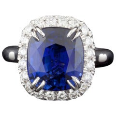 Natural 7.06 Carat Sapphire Diamond GIA Certified Ring