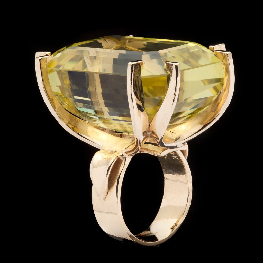oversized citrine emerald cut cocktail ring at 1stdibs