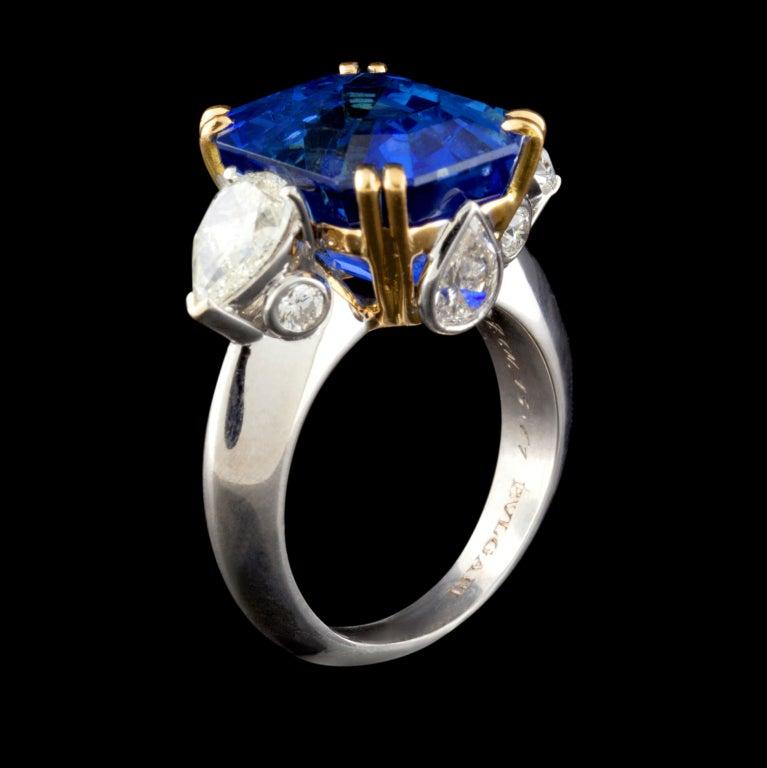 Superb Bulgari 13.61ct Sapphire and Diamond Ring 4