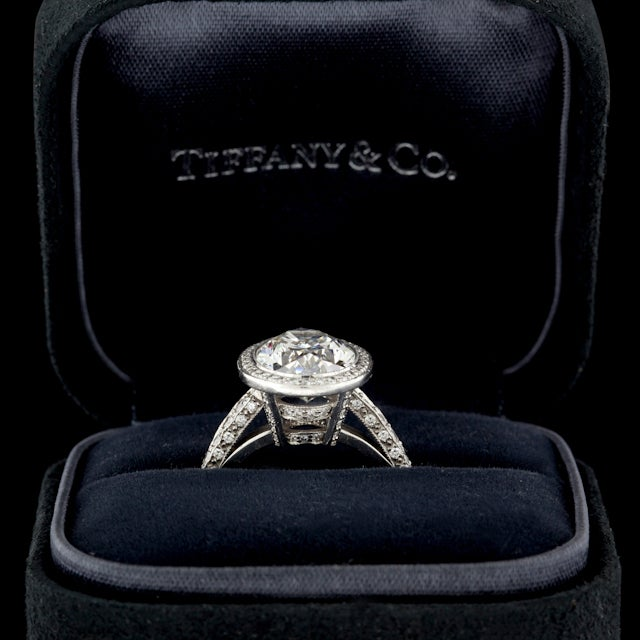 Tiffany & Co. 4.78 Carat Custom Oval Diamond Platinum Ring In Excellent Condition For Sale In San Francisco, CA