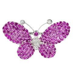 Pink Sapphire & Diamond Butterfly Brooch