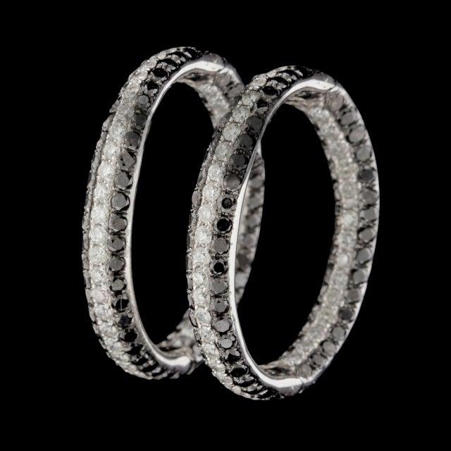 Black & White Diamond Hoop Earrings 2