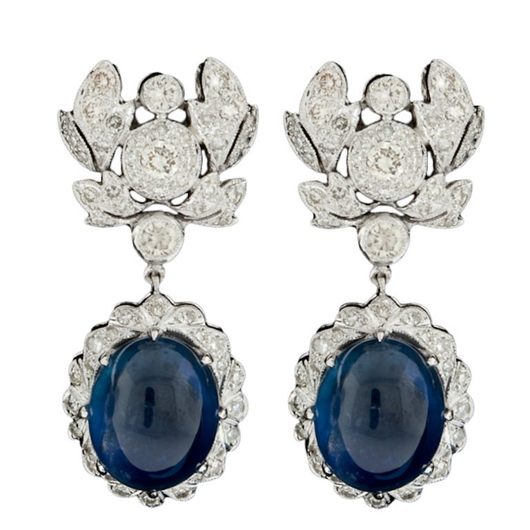 Cabochon Sapphire & Diamond Earrings For Sale