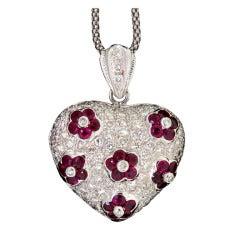 Ruby & Diamond Heart Locket
