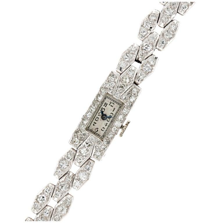 Art Deco French Diamond Platinum Watch