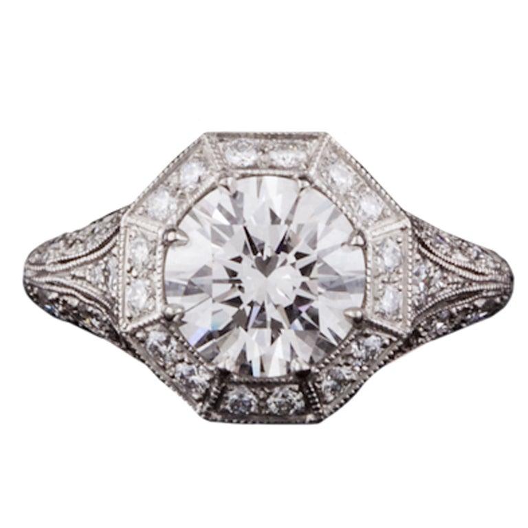 2.10ct Round GIA Diamond Ring For Sale