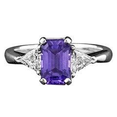 Purple Sapphire & Diamond Platinum Ring