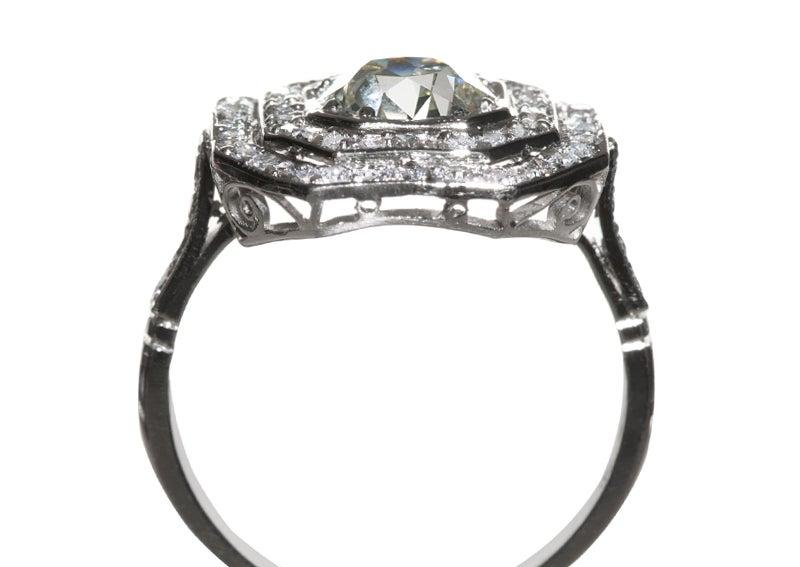 Art Deco Platinum Engagement Ring Set With A 145 Carat Diamond At 1stdibs