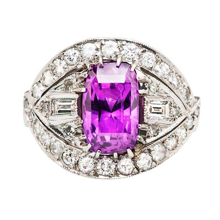purple sapphire gold ring