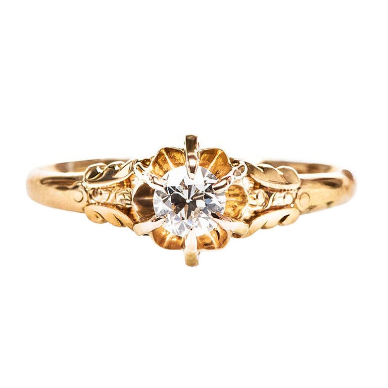 Diamond Art Nouveau Engagement Ring at 1stdibs