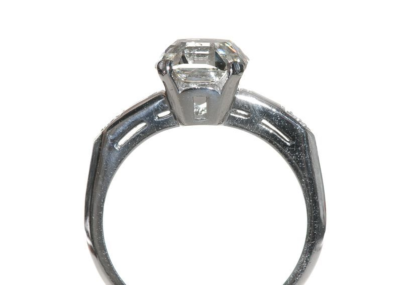 asscher cut platinum deco engagement ring at 1stdibs
