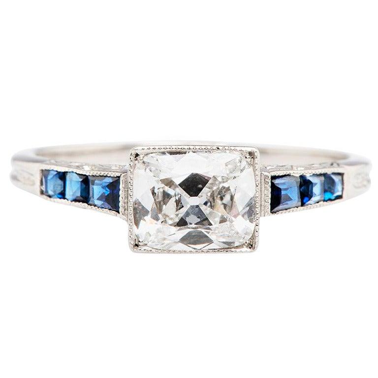 sapphire platinum deco engagement ring at 1stdibs