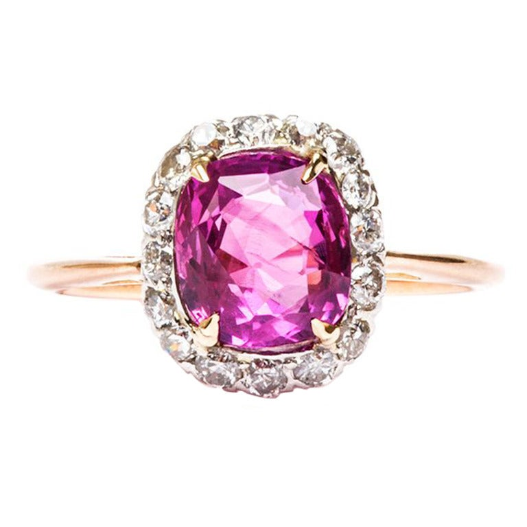 natural unheated pink sapphire edwardian engagement ring