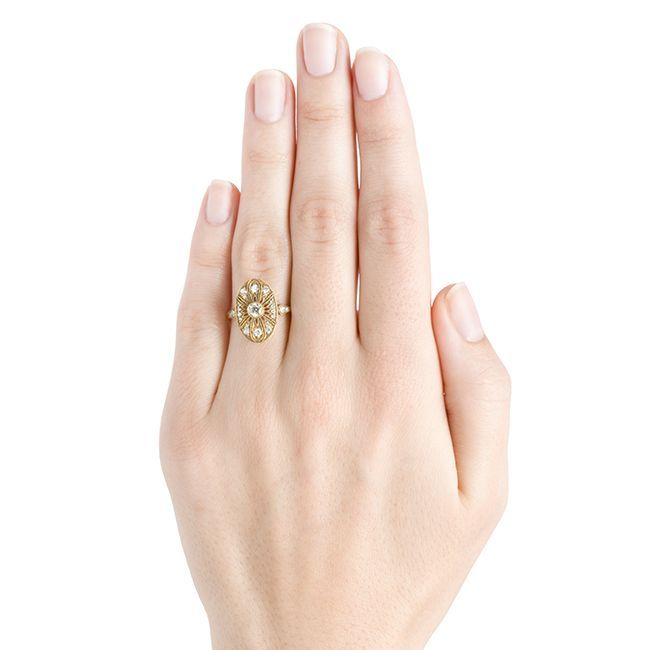 Edwardian Trumpet & Horn Diamond Gold Engagement Ring For Sale
