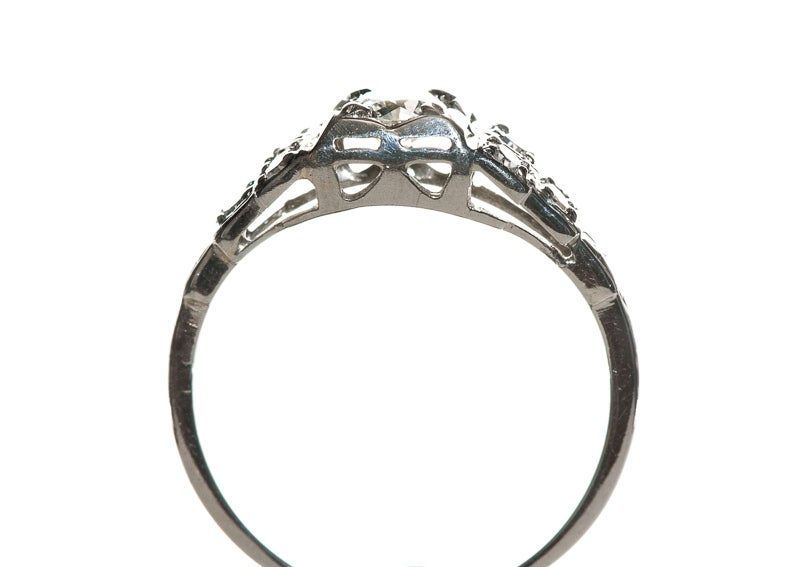 deco engagement ring in 18kt white gold at 1stdibs