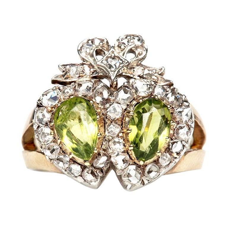 Peridot Diamond Victorian Engagement Ring At 1stdibs