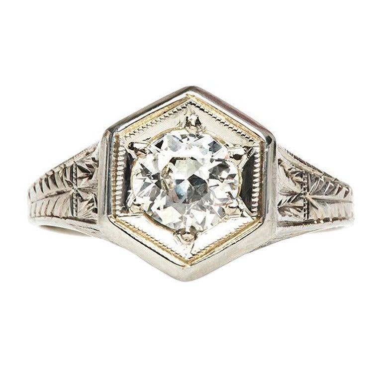 Diamond Gold Edwardian Engagement Ring At 1stdibs