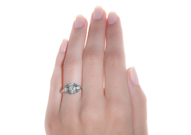 .39 Carat Diamond Gold Art Deco Engagement Ring image 2