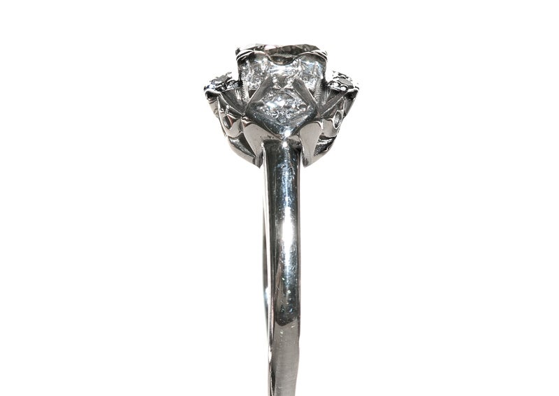 .39 Carat Diamond Gold Art Deco Engagement Ring image 4