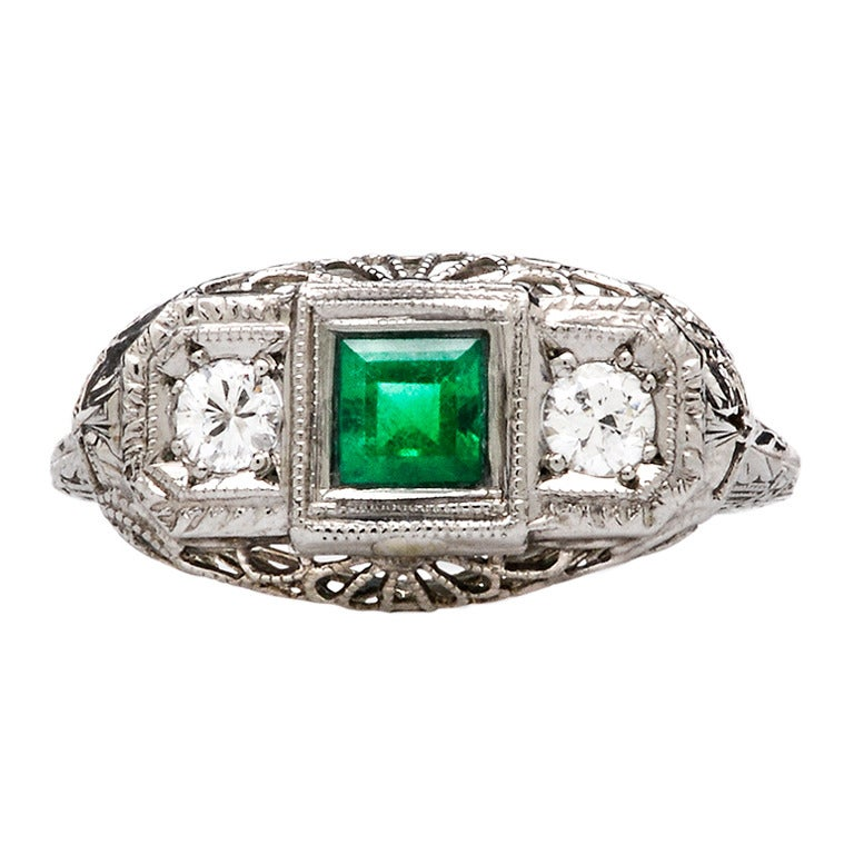 deco emerald and engagement ring at 1stdibs