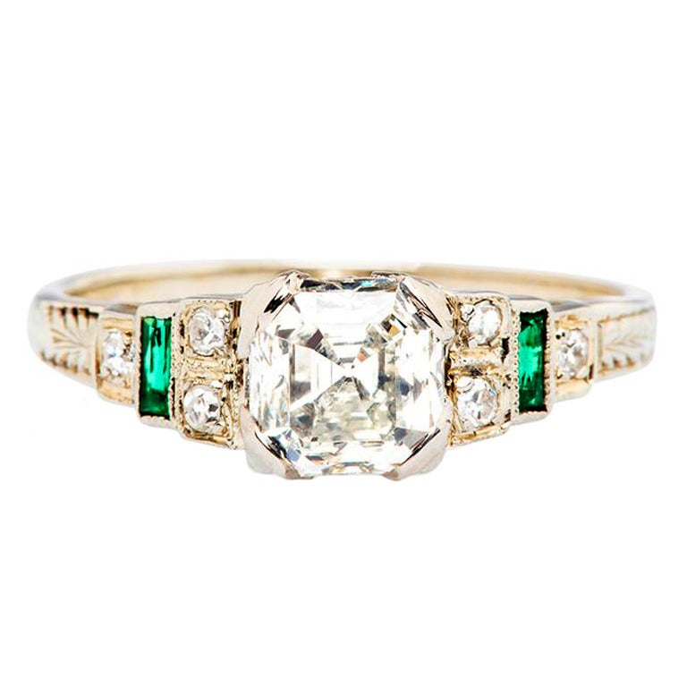asscher cut gold deco engagement ring at 1stdibs