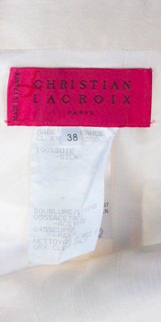 Women's Vintage Christian Lacroix Creme and Black Strapless Silk Lace Cocktail dress For Sale