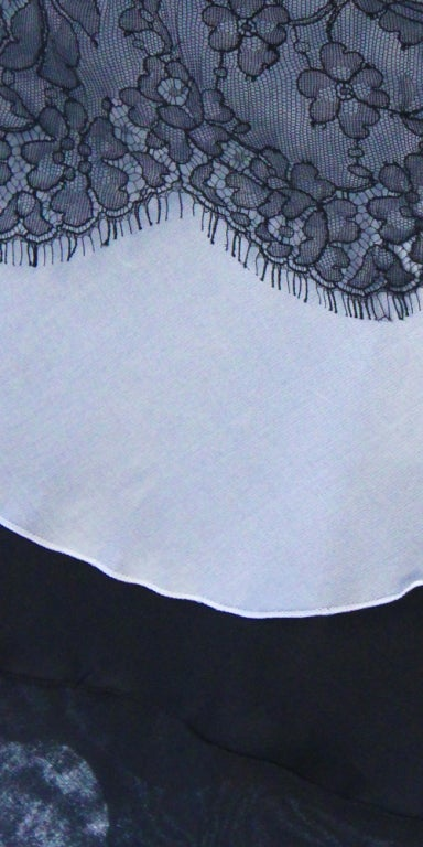 Vintage Christian Lacroix Creme and Black Strapless Silk Lace Cocktail dress For Sale 2