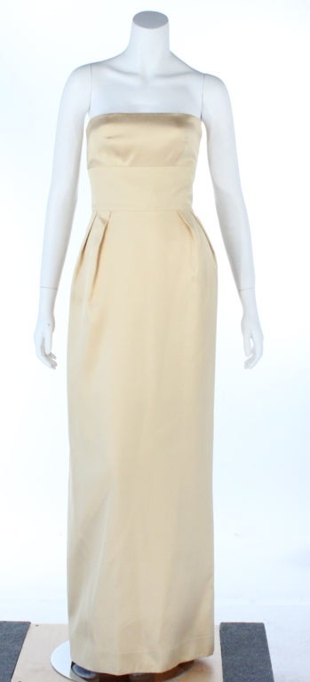 Elegant Jeanne Lanvin canary yellow strapless silk gown.