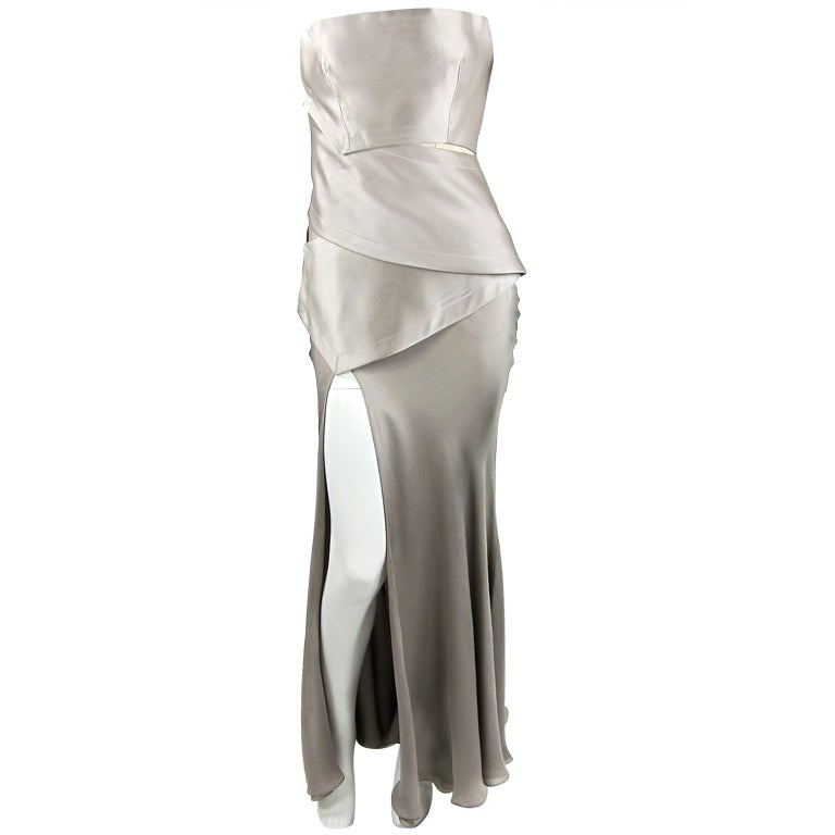 Halston silk charmeuse strapless gown