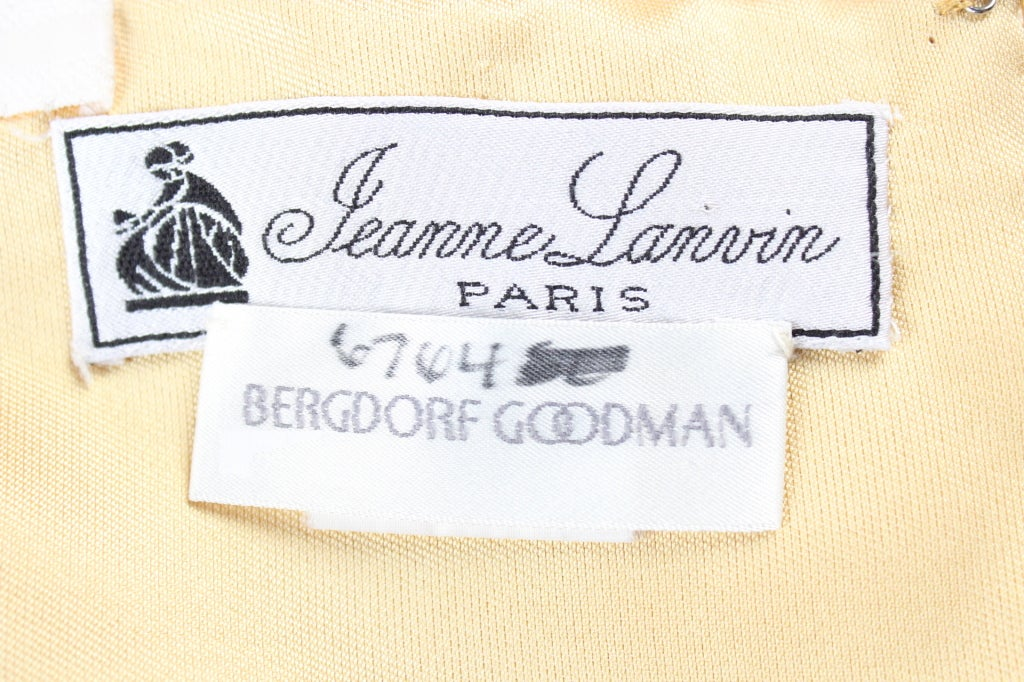 Beige Jeanne Lanvin light yellow silk straples gown For Sale