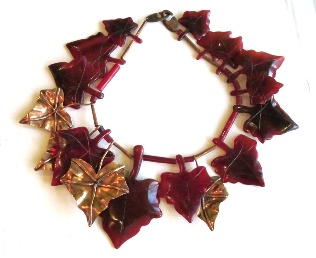 Vintage Gerda Lynggaard Brass and Resin leaves bib necklace in Plum and Gold.