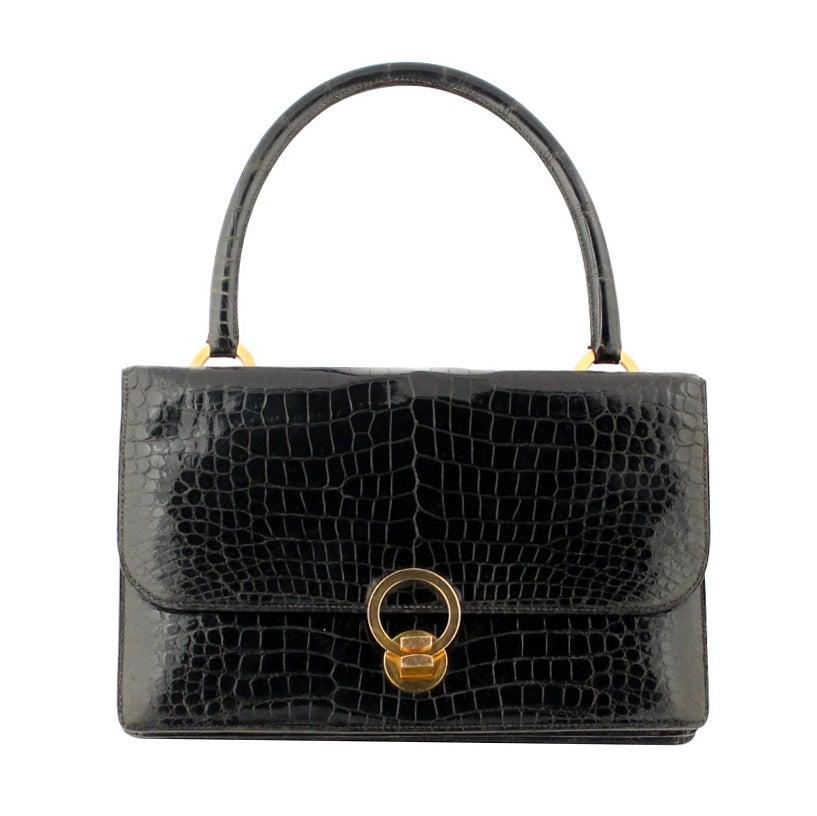 438331e1446a 1950s Hermes purse For Sale. Classic black patent ...