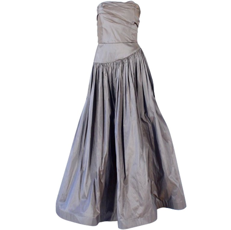 Bill Blass Vintage Bronze Silk Strapless Gown