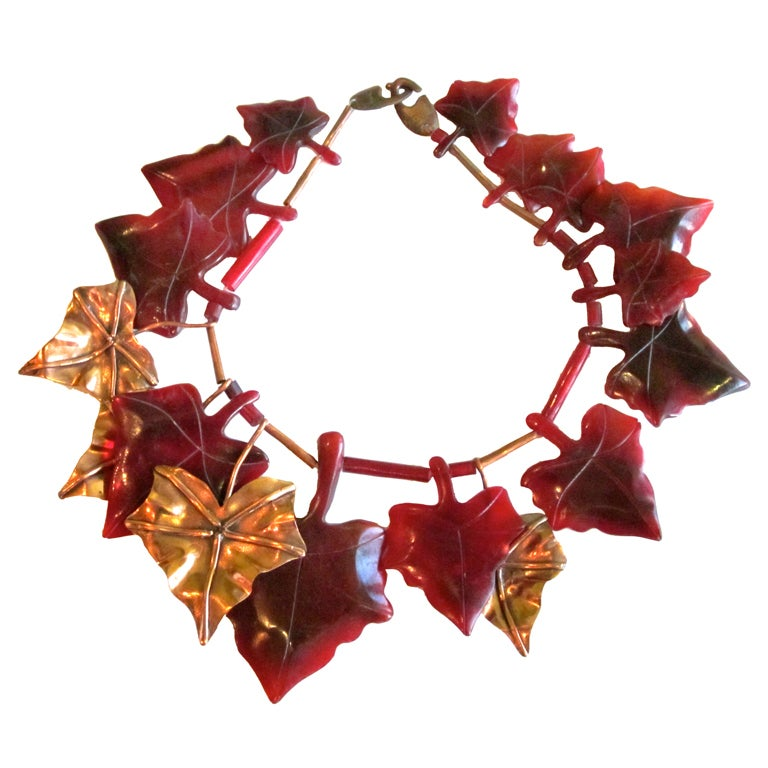Vintage  Gerda Lynggaard Resin and Brass Leaves necklace For Sale