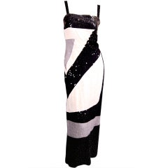 Vintage Givenchy black and white sequin spaghetti strap silk dress
