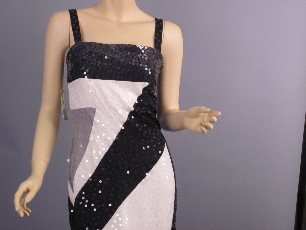 Vintage Givenchy black and white sequin spaghetti strap silk dress 3